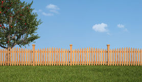 Wooden fence and apple tree Stock Photography