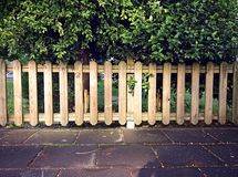 Wooden fence around children playground in public park with green vegetation on the background. Front view royalty free stock images