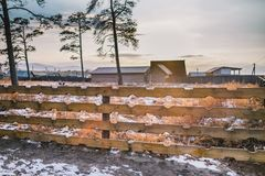 Wooden fence for a back yard and sun shine. In the evening during sunset and snowy lawn of a backyard and pine trees in the background. The vanilla sky is Royalty Free Stock Image