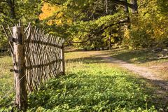Wooden fence on the background of the autumn forest. stock image