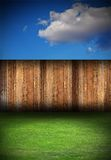 Wooden fence on backyard Royalty Free Stock Image