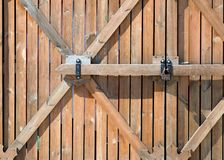 Wooden fence. a barrier, railing, or other upright structure, ty Stock Image