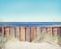 Wooden Fence and Beach Landscape Royalty Free Stock Photo
