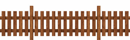 Wooden fence. A brown wooden fence isolated on white background Stock Image
