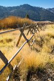 Wooden fence california mountain valley. Wooden fence line through Squaw Valley California stock photos