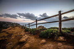Wooden fence on Cape Roca (cabo da roca) Stock Images