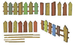 Wooden fence cartoon Royalty Free Stock Photo