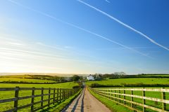 Fence casting shadows on a road leading to small house between scenic Cornish fields under blue sky, Cornwall, England Stock Photos