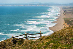 Wooden fence on a cliff by the Pacific Ocean Royalty Free Stock Images