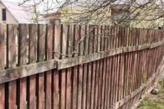 Wooden fence close up. Old fence stock image