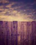 Wooden fence and Cloudy Sky Stock Photography