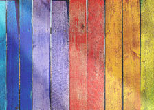 Wooden fence. Colorfull wooden fence with sunbeam Royalty Free Stock Photography