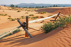 Wooden fence in Coral Pink Sand Dunes State Park. Landscape with dunes and wooden fence Royalty Free Stock Photo