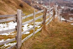 Wooden fence in the countryside Royalty Free Stock Image