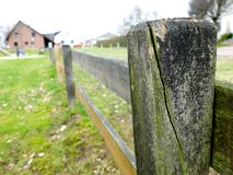 Wooden fence in a countryside. Close-up stock images