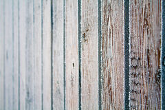 Wooden fence covered crystals of ice Royalty Free Stock Photography
