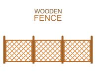 Wooden fence from crossed planking  on white background. Stock Images