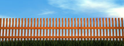 Wooden fence - 3D render Royalty Free Stock Photo