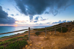 Wooden fence on the edge of Europe. Sunset. tinted Royalty Free Stock Photo
