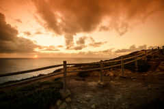 Wooden fence on the edge of Europe. Sunset. tinted Royalty Free Stock Photos