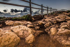 Wooden fence on the edge of Europe. Sunset. tinted Royalty Free Stock Image
