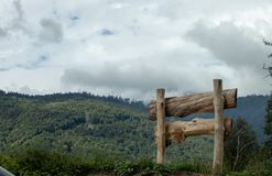 Wooden fence in a field royalty free stock photography