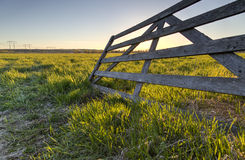 Wooden Fence in Field. In Umea, Sweden royalty free stock photography