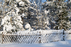 Wooden fence filled up by a snow in a countryside. Royalty Free Stock Image