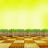 Wooden fence with a flower garland Royalty Free Stock Images