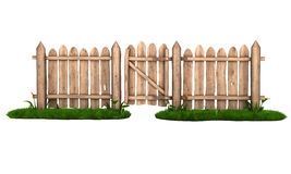 Wooden fence with a gate Stock Photos