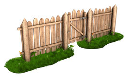 Wooden fence with a gate Royalty Free Stock Photography