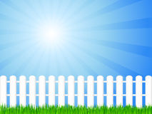 Wooden fence and grass. White wooden fence and green grass under dramatic sky. Vector illustration Stock Photography