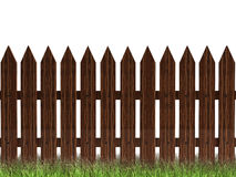 Wooden fence with grass. 3d wooden brown fencewit green grass  isolated on white Royalty Free Stock Photo
