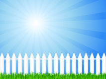 Wooden fence and grass 3. White wooden fence and green grass under dramatic sky. Vector illustration Stock Photography