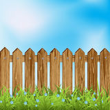Wooden fence and grass. Wooden fence and green grass. Vector illustration Stock Images