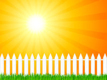 Wooden fence and grass 4. White wooden fence and green grass under dramatic sky. Vector illustration Royalty Free Stock Images
