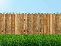 Wooden fence on grass (clipping path included) Royalty Free Stock Images