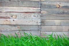 Wooden fence with  grass Stock Image