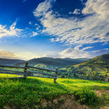 Wooden fence in the grass on the hillside. Near the village Royalty Free Stock Photo