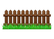Wooden Fence with grass isolated vector symbol icon design. Beautiful illustration isolated on white background Stock Photos