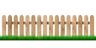 Wooden fence and grass - isolated on white background Stock Images