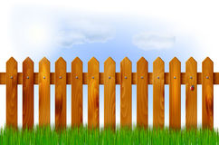 Wooden fence, grass and sky. With sun and clouds - vector illustration Royalty Free Stock Photography