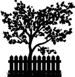 Wooden Fence with grass and tree silhouette isolated vector symb Stock Images