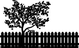 Wooden Fence with grass and tree silhouette isolated vector symb. Ol icon design. Beautiful illustration isolated on white background Royalty Free Stock Image