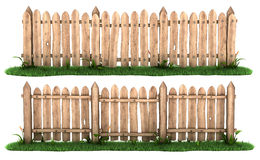 Wooden fence with grass Stock Photos