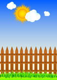 Wooden fence and grass Stock Photos