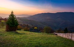 Wooden fence on a grassy hillside at autumn dawn. Wooden fence on a grassy rural hillside at autumn dawn. horese, woodshed and spruce in the scene. gorgeous stock photos