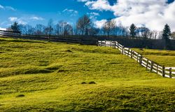 Wooden fence on grassy hillside in autumn. Wonderful rural scenery in fine weather with cloudy sky Royalty Free Stock Photo