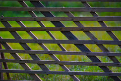 Wooden fence with green grass Stock Images