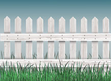 Wooden fence and green grass. Close- up wooden fence and green grass Royalty Free Stock Photo